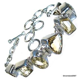 Chunky Citrine Sterling Silver Bracelet