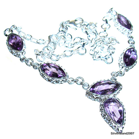 Marvelous Royal Amethyst Sterling Silver Necklace 16 1/2 inches long