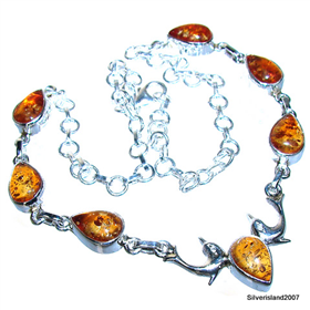 Honey Amber Sterling Silver Necklace 16 inches long