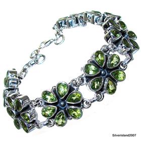 Massive Royal Peridot Sterling Silver Bracelet Jewellery