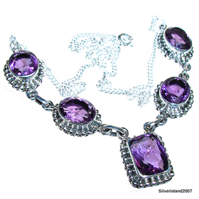 Marvelous Royal Amethyst Sterling Silver Necklace 18 1/2 inches long