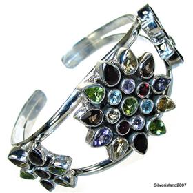 Incredible Design! Elegant Multigem Sterling Silver Bangle