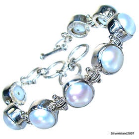 Elegant Freshwater Pearls Sterling Silver Bracelet