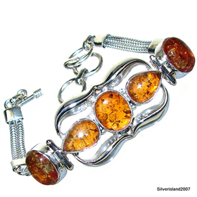 Honey Amber  925 Silver Bracelet Jewellery