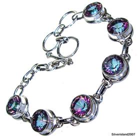 Incredible Mystic Topaz Sterling Silver Bracelet
