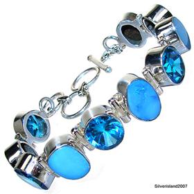 Stunning  Fire Opal Sterling Silver Bracelet