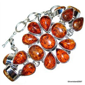 Chunky Honey Amber  925 Silver Bracelet Jewellery