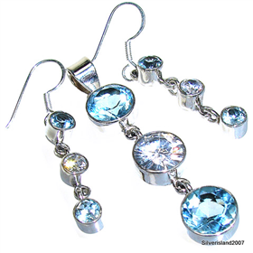 Unique Blue Topaz Sterling Silver Set