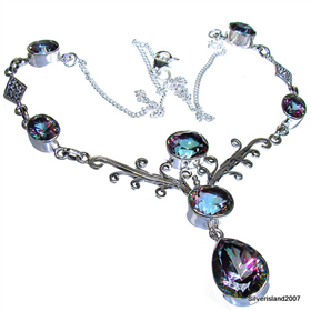 Wonderful Mystic Topaz Sterling Silver Necklace 16 1/2 inches long