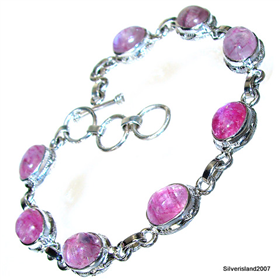 Red Rainbow Moonstone Sterling Silver Bracelet
