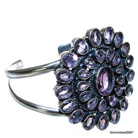 Chunky Amethyst Sterling Silver Bangle Bracelet size free