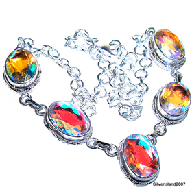 Charming Madagascar Fire Quartz Sterling Silver Necklace 17 inches long