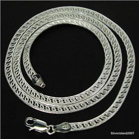 Beautiful Carved Magic Sterling Silver Chain 16 inches long