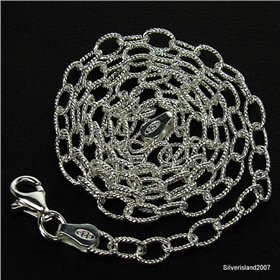 Amazing Oval Drop Sterling Silver Chain 18 inches long