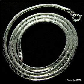 Amazing Oval Snake Sterling Silver Chain 18 inches long