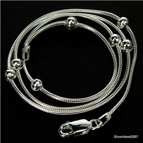 Stunning Balls Sterling Silver Chain 16 inches long