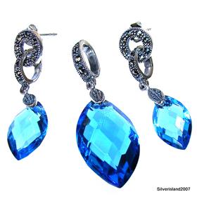 Incredible Blue Topaz Quartz Sterling Silver Set