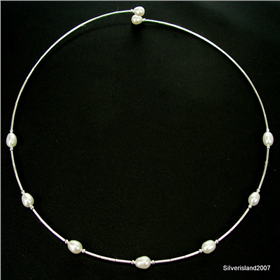 Fantastic Freshwater Pearl Sterling Silver Necklace 17 inches long