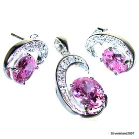 Stunning Pink Topaz Sterling Silver Set