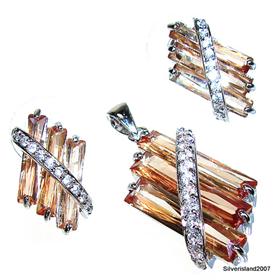 Artisan Stunning Citrine Sterling Silver Set