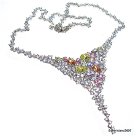Artisian Multigem Sterling Silver Necklace 18 inches long