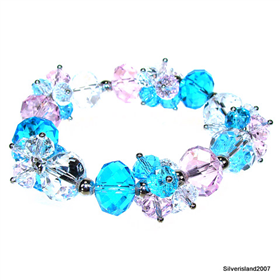 Incredible Blue and Pink Topaz Quartz Fashion Jewellery Bracelet