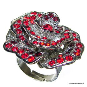 Huge Royal Garnet Fashion Jewellery Ring Size P 1/2