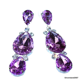 Large Royal Amethyst Quartz Fashion Jewellery Earrings