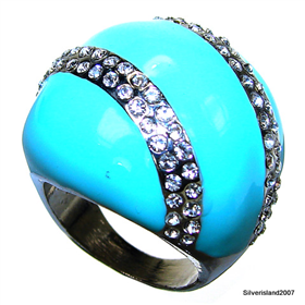 Large Turquoise Fashion Jewellery Ring size P 1/2