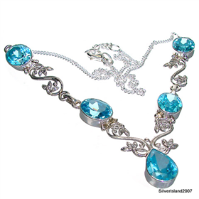 Marvelous Blue Topaz Sterling Silver Necklace Jewellery 18 inches long