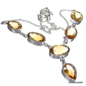 Terrific Citrine Sterling Silver Necklace 17 inches long