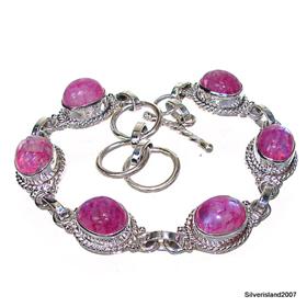 Glamorous Red Rainbow Moonstone Sterling Silver Bracelet