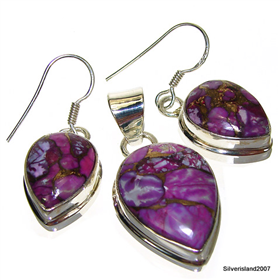 Stunning Purple Turquoise Sterling Silver Set