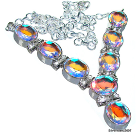 Charming Madagascar Fire Quartz Sterling Silver Necklace 18 inches long