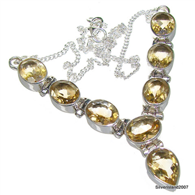 Stunning Citrine Sterling Silver Necklace 17 inches long