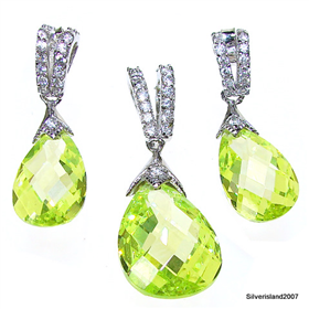 Gallant Peridot Quartz Sterling Silver Set