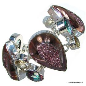Chunky Titanum Druzy Mystic Topaz Sterling Silver Bracelet
