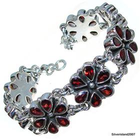 Glamorous Garnet Sterling Silver Gemstone Bracelet