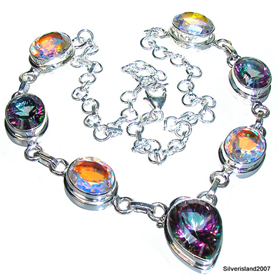 Rainbow Madagascar Fire Quartz Sterling Silver Necklace 17 inches long