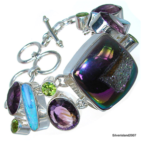 Chunky Titanum Druzy Sterling Silver Bracelet