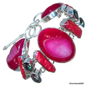 Massive Caribbean Druzy Sterling Silver Bracelet