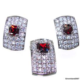 Fabulous Royal Garnet Sterling Silver Set