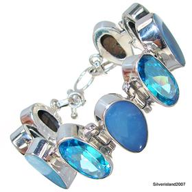 Chunky Fire Opal Sterling Silver Bracelet
