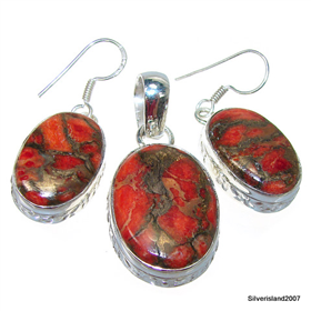 Stunning Red Turquoise Sterling Silver Set