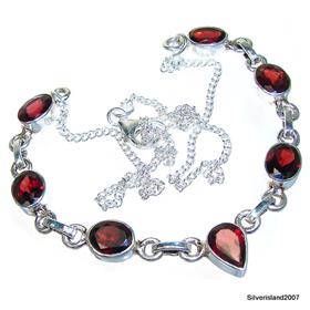 Elegant Garnet Sterling Silver Necklace 15 inches long