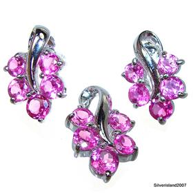 Artisan Stunning Ruby Sterling Silver Set
