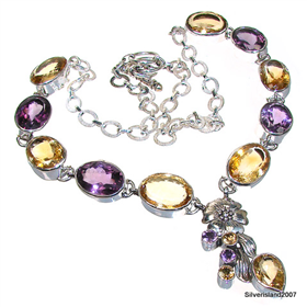 Royal Amethyst Sterling Silver Necklace 23 inches long