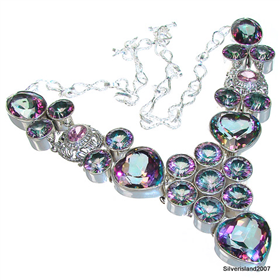 Massive Mystic Topaz Sterling Silver Necklace 18 inches long