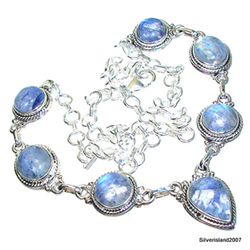 Elegant Blue Moonstone Sterling Silver Necklace 17 inches long