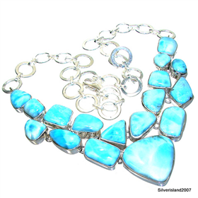 Massive Larimar Sterling Silver Necklace 16 inches long